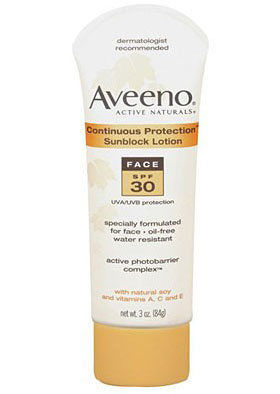Aveeno, Continuous Protection Sunblock Lotion for the Face SPF 30: солнцезащитный лосьон для лица